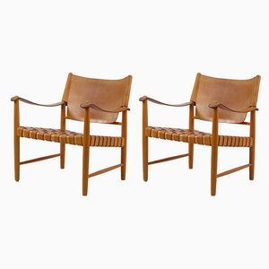 Mid-Century Safari Lounge Chairs, Set of 2