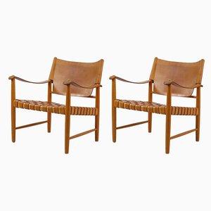 Mid-Century Safari Lounge Chairs, Set of 2