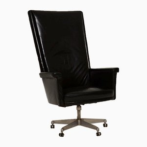 Model Trend Black Leather Swivel Chair by John Home for Howard Keith, 1960s