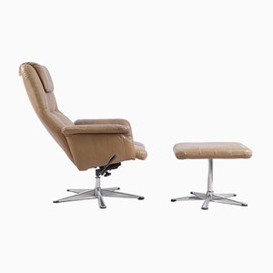 Vintage Leather Lounge Chair with Ottoman