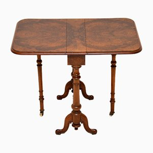 Antique Victorian Burr Walnut Drop-Leaf Side Table
