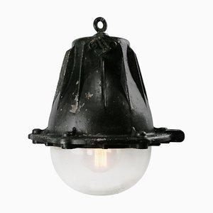 Lámpara colgante francesa de hierro fundido y vidrio claro, años 50