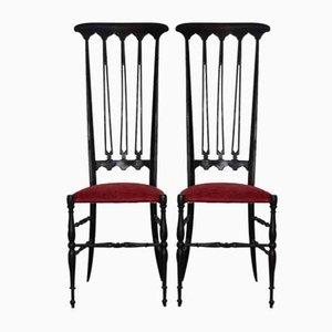 Chiavarine Beistellstühle mit Samtbezug & Gestell aus Ahorn von Gio Ponti, 1950er, 2er Set