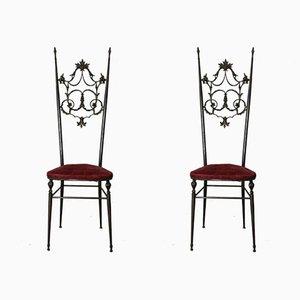Chaises d'Appoint Chiavarine Style Hollywood Regency en Laiton et Velours, Set de 2