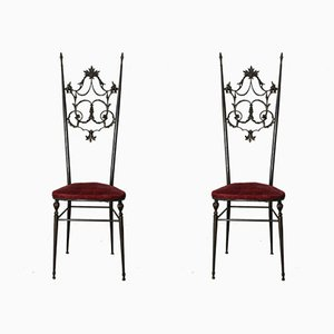 Hollywood Regency Style Brass & Velvet Chiavarine Side Chairs, Set of 2