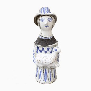 French Ceramic Man with Lamp Sculpture by Jean Derval, 1950s