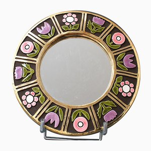 Wall-Hanging Ceramic Mirror by Francois Lembo, 1960s