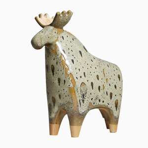 Mid-Century Ceramic Moose Sculpture by Lisa Larson for Gustavsberg
