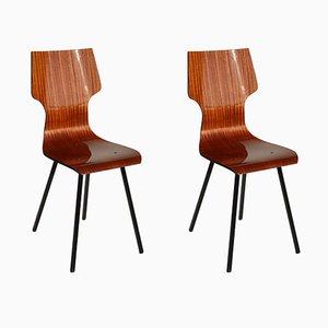 Italienische Esszimmerstühle aus Schichtholz, 1950er, 2er Set