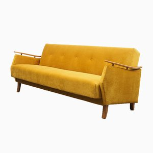 Golden Yellow Suede Sofa, 1950s