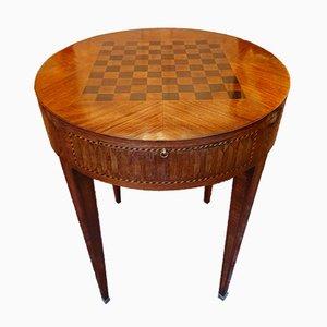 Tavolo da gioco antico in palissandro e pelle