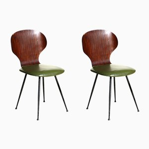 Plywood & Metal Dining Chairs by Carlo Ratti for Lissoni, 1950s, Set of 2