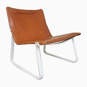 Steel and Leather Safari Lounge Chair, 1970s