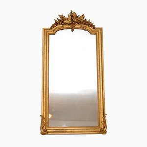 Large Antique French Carved Giltwood Mirror