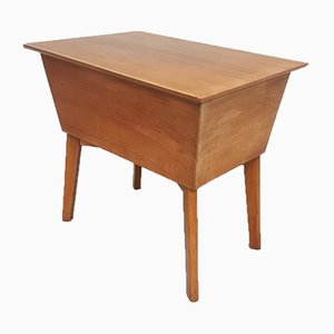 Walnut Sewing Box Table, 1950s