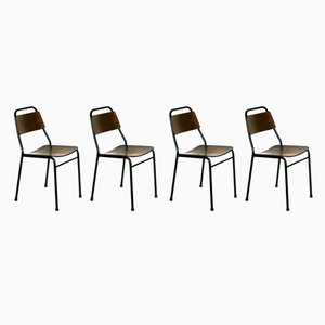 Italian Industrial Iron & Plywood School Chairs, 1950s, Set of 4