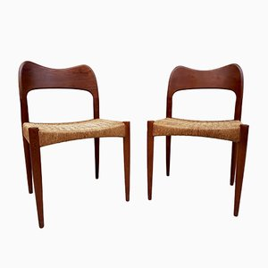 Danish Dining Chairs by Arne Hovmand-Olsen for Mogens Kold, 1960s, Set of 2