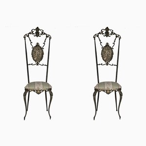 Hollywood Regency Chiavarine Brass Side Chairs, 1930s, Set of 2