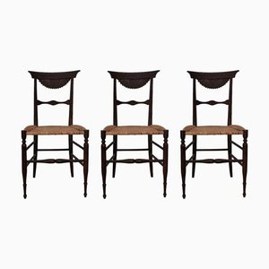 Antique Chiavarine Cherry & Rattan Dining Chairs, 1870s, Set of 3