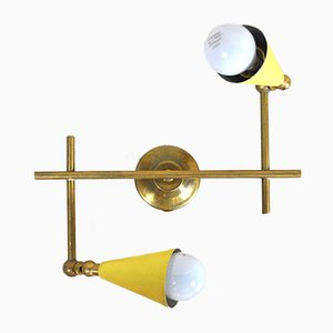 Italian Lacquered Metal and Brass Sconce, 1950s
