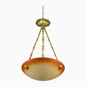 Lámpara colgante Art Nouveau de vidrio artístico de Charles Schneider, años 20