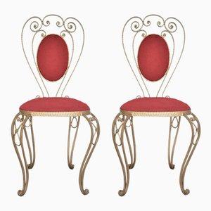 Chaises d'Appoint en Laiton Patiné, Fer Forgé et Velours, 1970s, Set de 2