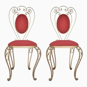 Patinated Brass, Wrought Iron, and Velvet Side Chairs, 1970s, Set of 2
