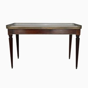 Antique Italian Carrara Marble, Mahogany, and Brass Coffee Table