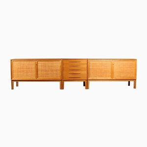 Oak & Cane Cabinets and Drawer by Alf Svensson for Bjästa, 1960s, Set of 3