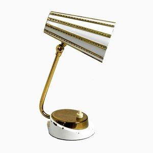 Lámpara de mesita de noche de latón y metal, años 50