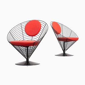 Lounge Chairs by Verner Panton for Fritz Hansen, 1989, Set of 2