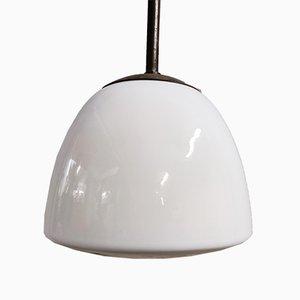 Lámpara colgante vintage de vidrio opalino, años 30