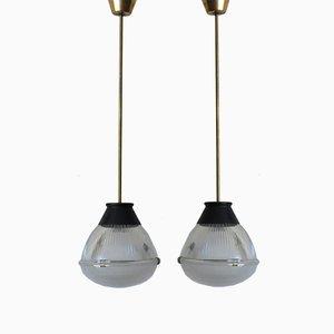 Lámparas de techo modelo 4409 de vidrio de Tito Agnoli para Oluce, 1958. Juego de 2