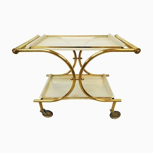 French Perforated Metal and Brass Trolley, 1940s