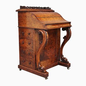 Antique Burr Walnut Rising Top Secretaire