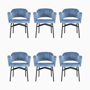 Mid-Century Italian Blue Velvet Dining Chairs, 1950s, Set of 6