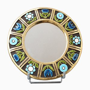 Ceramic Wall Mirror by Francois Lembo, 1960s