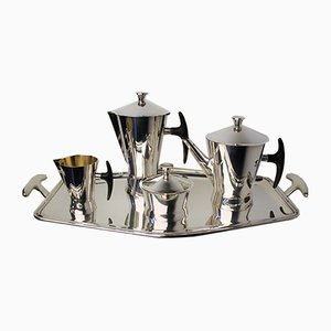 Silver Plated Coffee and Tea Set from Delheid Frerès, 1950s, Set of 5