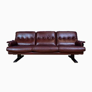 Mid-Century Swedish Burgundy Leather 3-Seater Sofa by Arne Norell for Vatne Møbler, 1970s