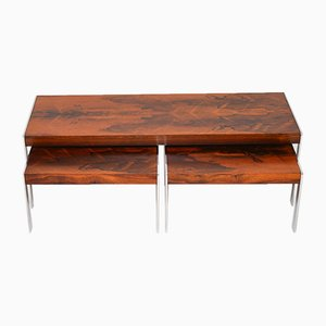 Rosewood & Chrome Nesting Tables from Merrow Associates, 1960s
