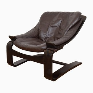 Leather Lounge Chair by Åke Fribytter for Nelo Möbel, 1970s