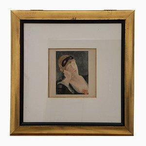 Impression Héliographique Ancienne Femme avec Masque par Félicien Rops, Belgique