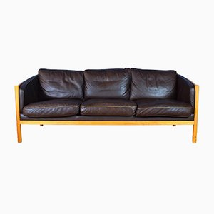 Mid-Century Danish Brown Leather and Cherrywood 3-Seater Sofa from Stouby, 1980s