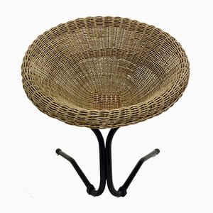 Butaca italiana de ratán y bambú de Vittorio Bonacina, años 60