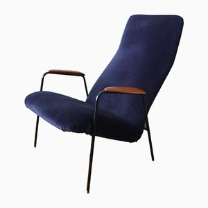 Swedish Blue Velvet and Teak Easy Chair by Alf Svensson for Ljungs, 1950s