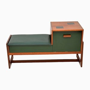 Teak Telephone Entry Bench or Stool, 1960s