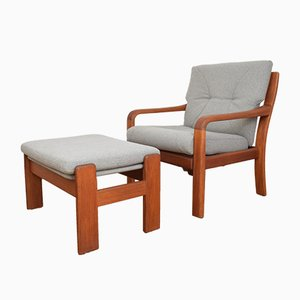 Mid-Century Danish Teak Armchair and Ottoman Set from Skipper, 1960s
