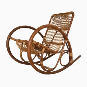 Rocking-chair Mid-Century en Rotin