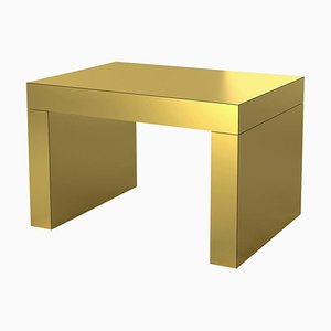 Mesa de centro o banco Gaby de oro cepillado de Chapel Petrassi