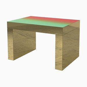 Mesa de centro Gaby en verde y rojo degradado de aluminio pulido de Chapel Petrassi